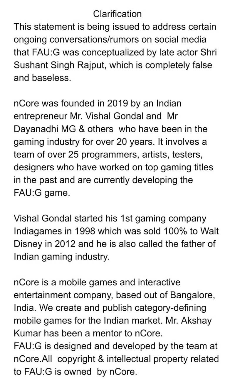 FAU-G is not conceptualized by Sushant Singh Rajput, game developer issues clarification