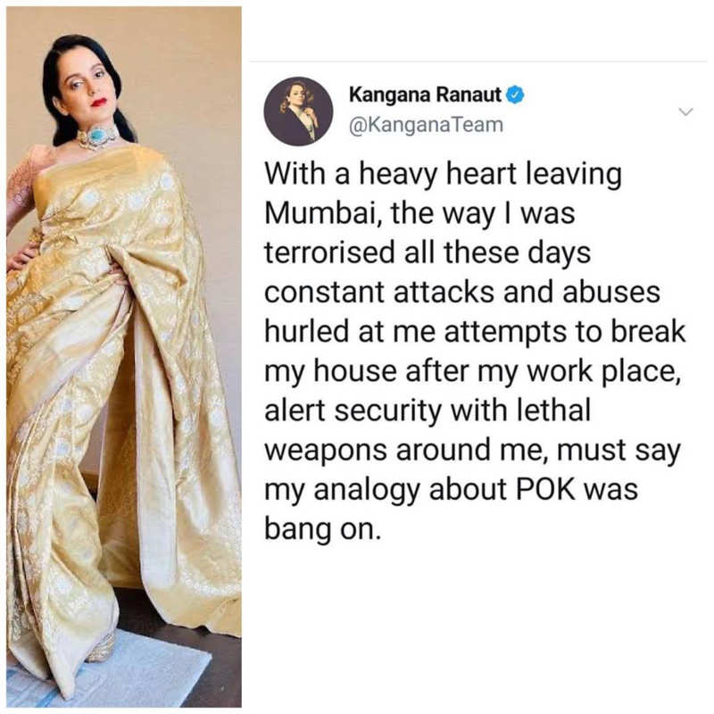 Kangana Ranaut says she's leaving Mumbai with a heavy heart; calls her analogy about POK 'bang on'