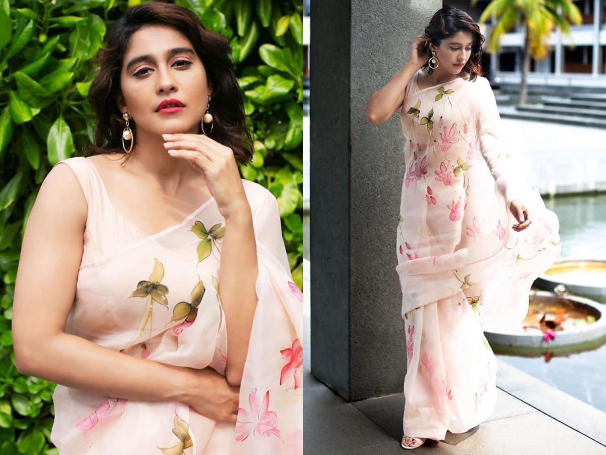 Regina stuns in a silk organza sari