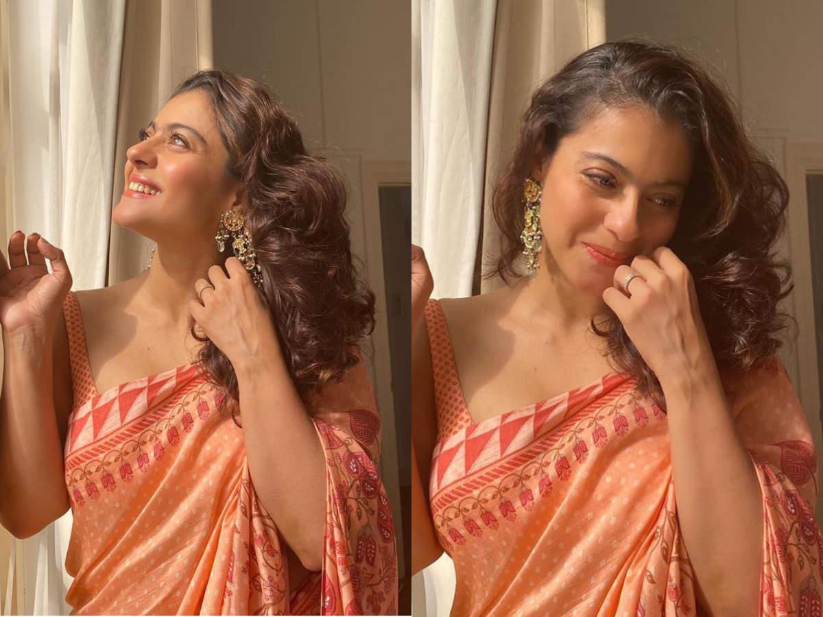 Kajol looks breathtaking in this rose pink sari