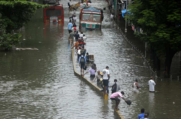 Heavy rain disrupts normal life in Mumbai