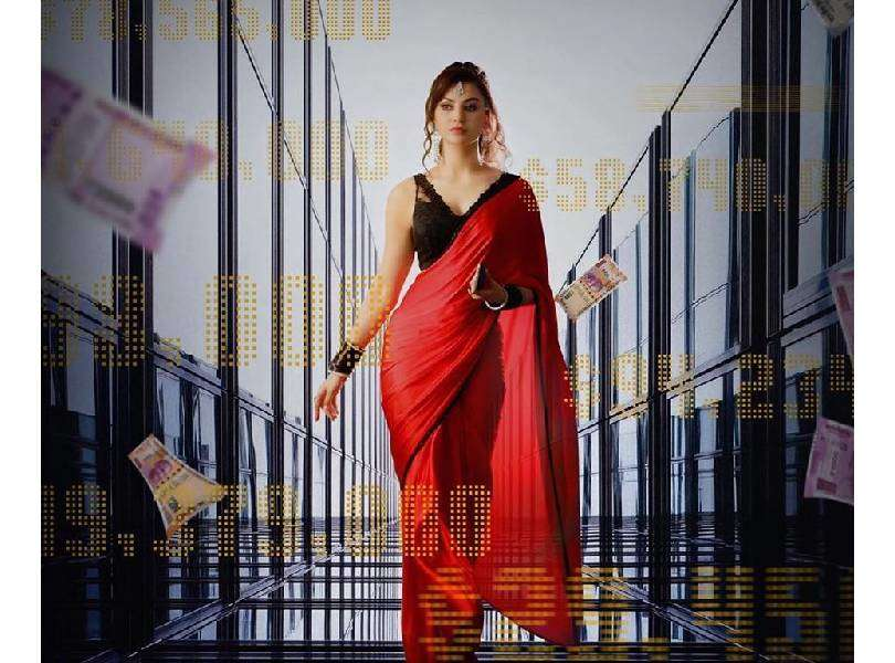 Urvashi Rautela stuns in red saree in the poster of her upcoming film 'Black Rose'