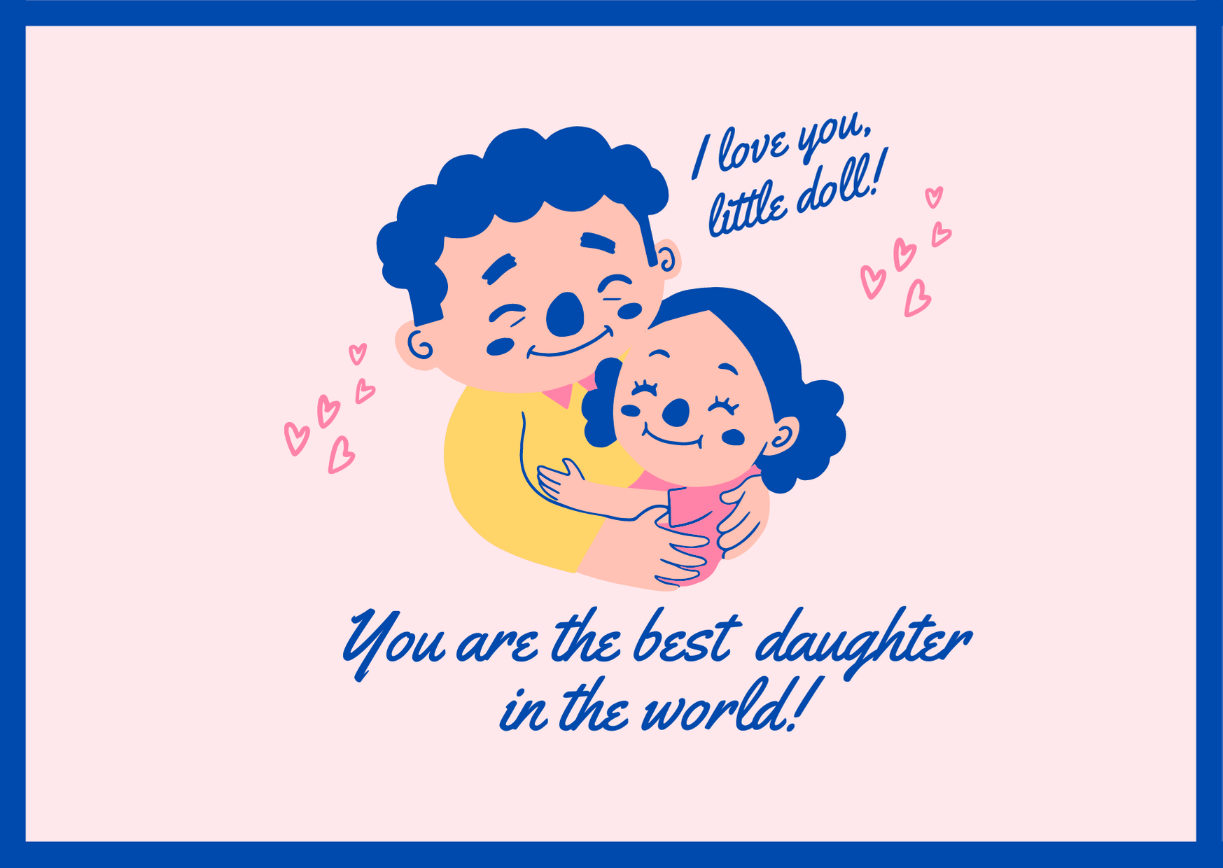 Blue and Pink Illustrative Father's Day Landscape Card