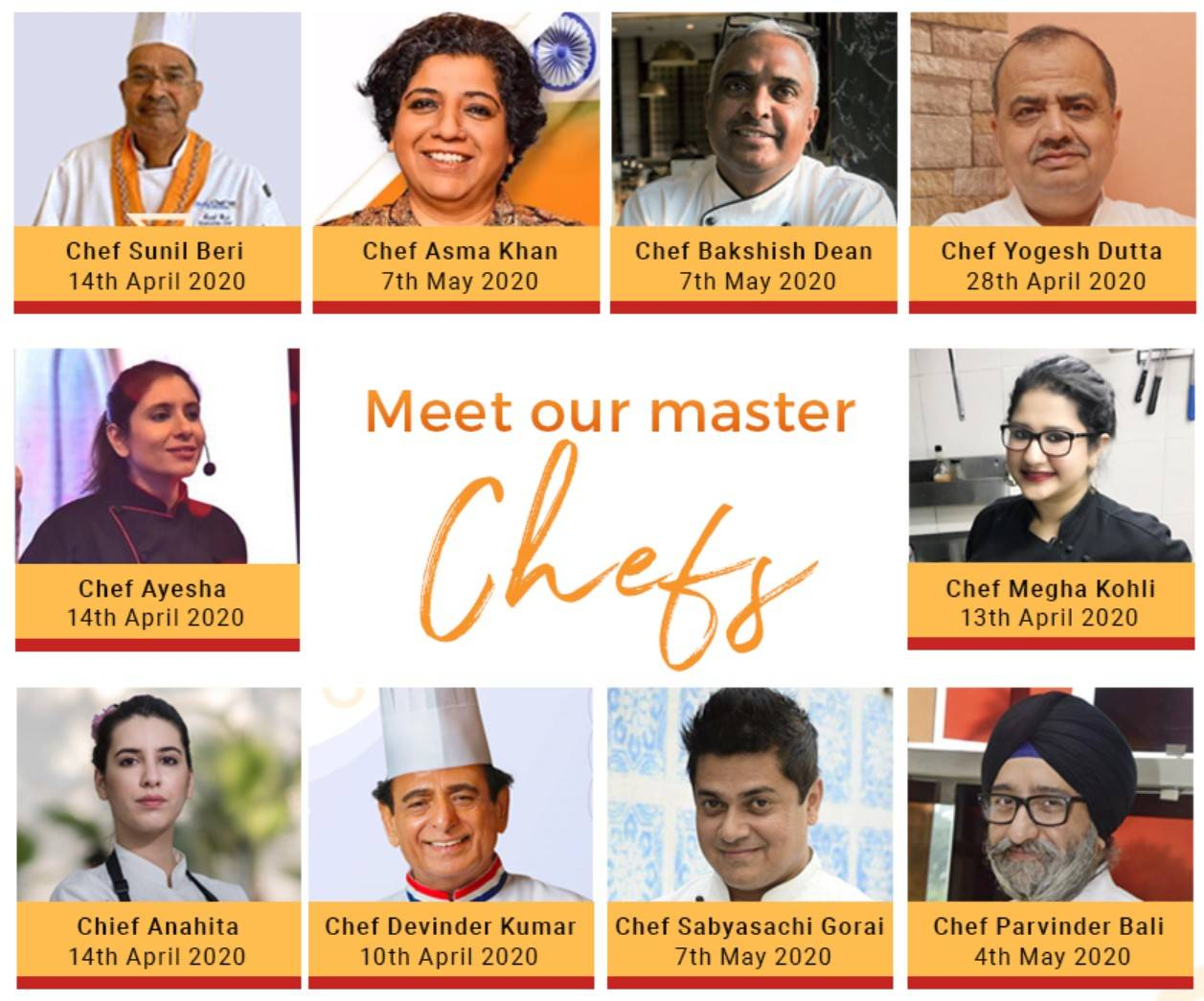 These are the Chefs Who have already taken Master Classes at IICA