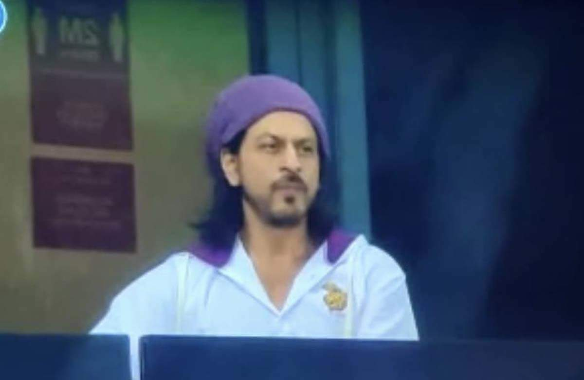 KKR co-owner Shah Rukh Khan cheers for his team during match against RR