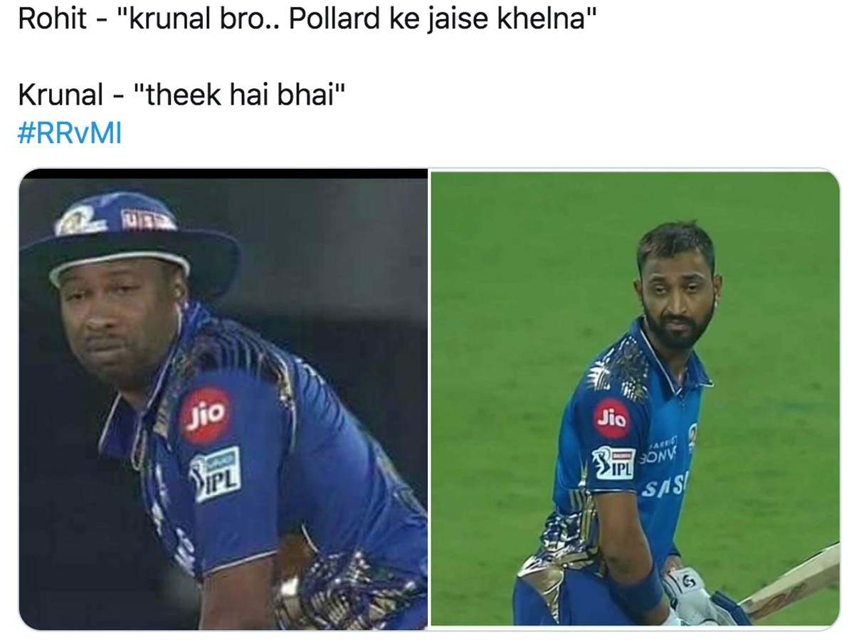 This photo of Krunal Pandya from MI vs RR match generates hilarious memes
