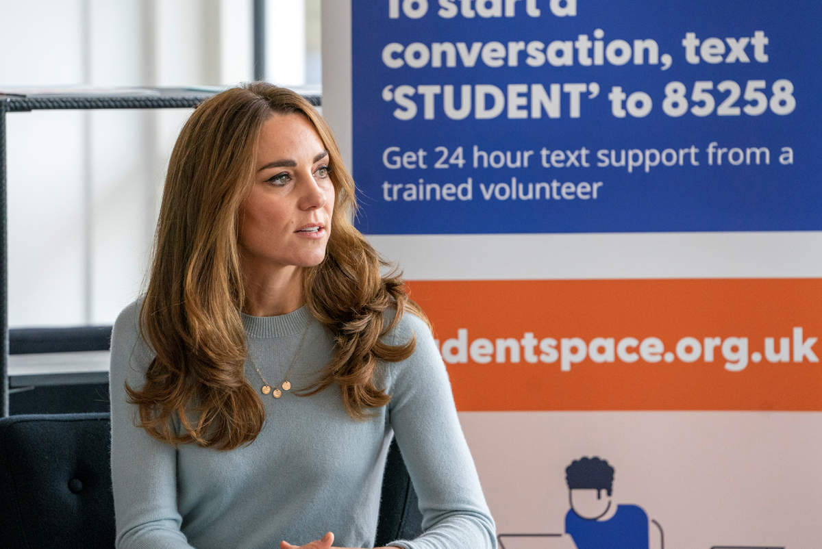 Britain's Catherine, Duchess of Cambridge, visits the University of Derby to discuss students' mental health amid coronavirus pandemic