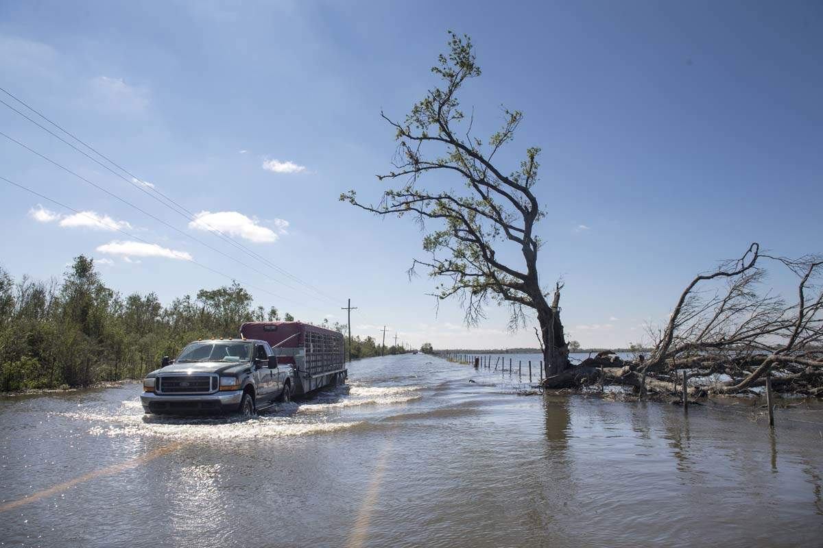 Pictures of floods and destruction in Louisiana caused by Hurricane Delta