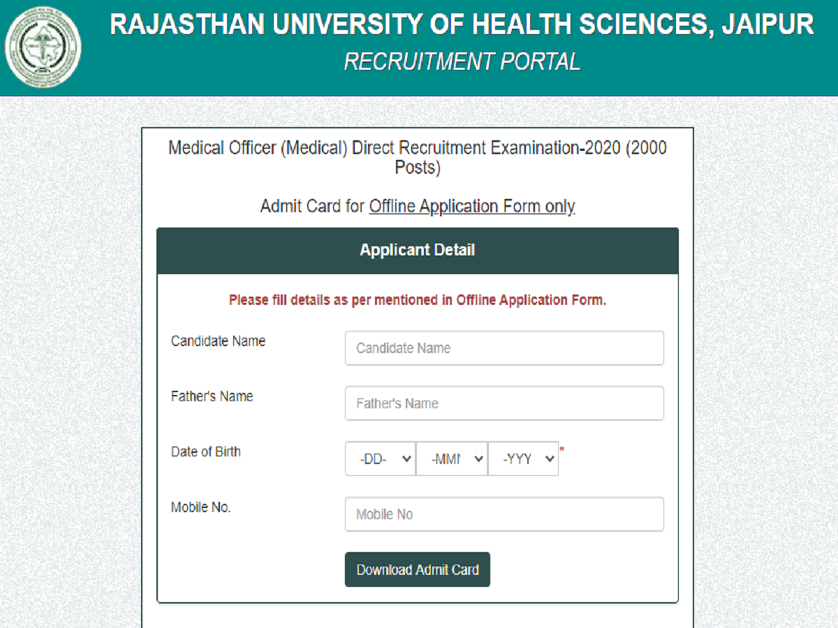 Admit card alert: RUHS MO admit card 2020 released, check details here