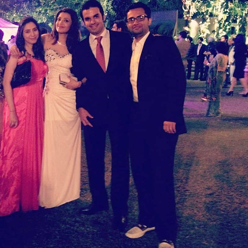 Here's the first picture from Kajal Aggarwal and fiance Gautam Kitchlu's engagement