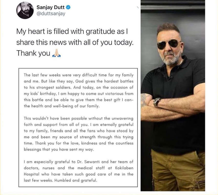 Sanjay Dutt announces news of recovering from cancer on twins Shahraan and Iqra's birthday