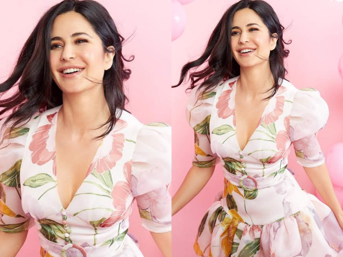 Katrina looks gorgeous in a pretty floral dress