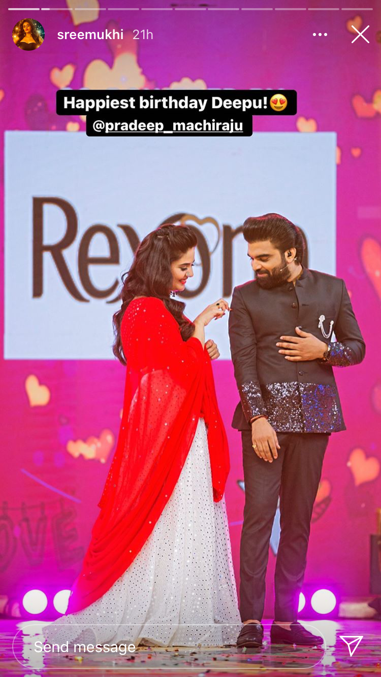 Sreemukhi wishes Pradeep