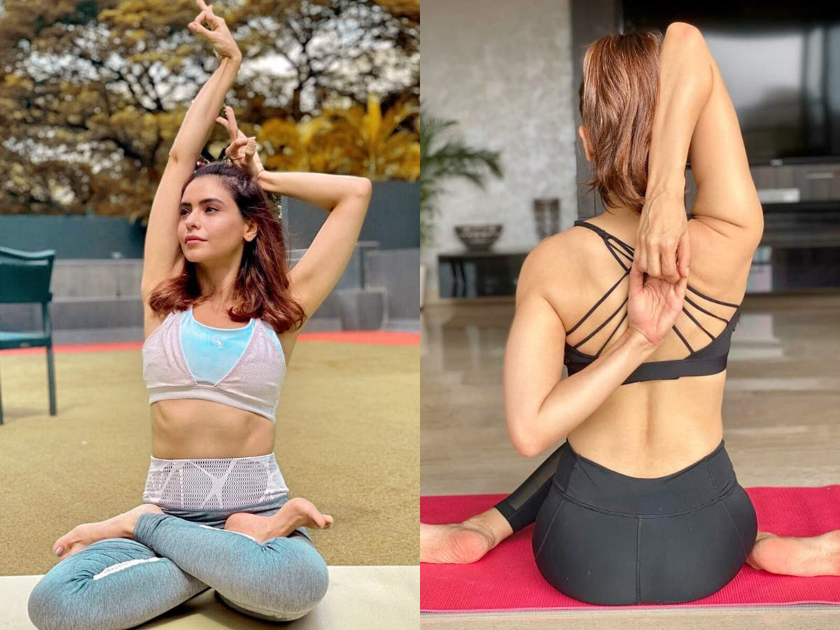 Aamna Sharif practicing yoga