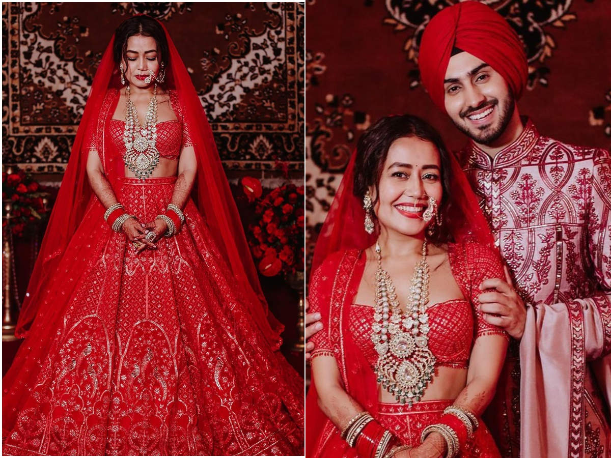 Neha Kakkar and Rohanpreet Singh share unseen pictures from the wedding day; the newly married couple looks ravishing in red