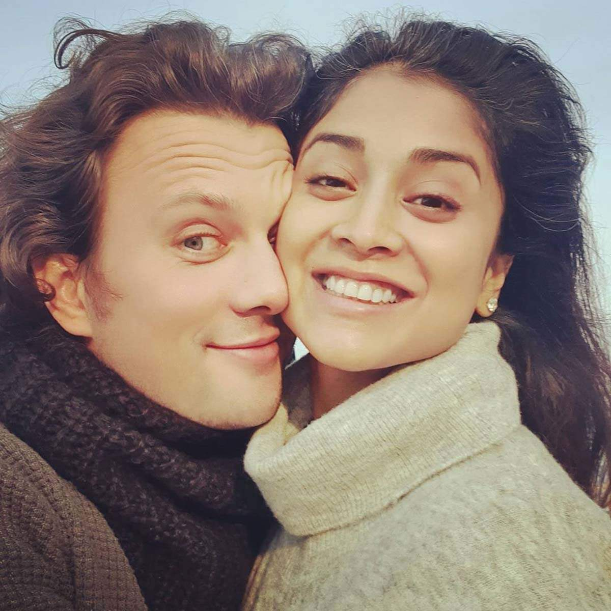 "South beauty Shriya Saran shares adorable selfies with husband Andrei Koscheev ""just like that"""
