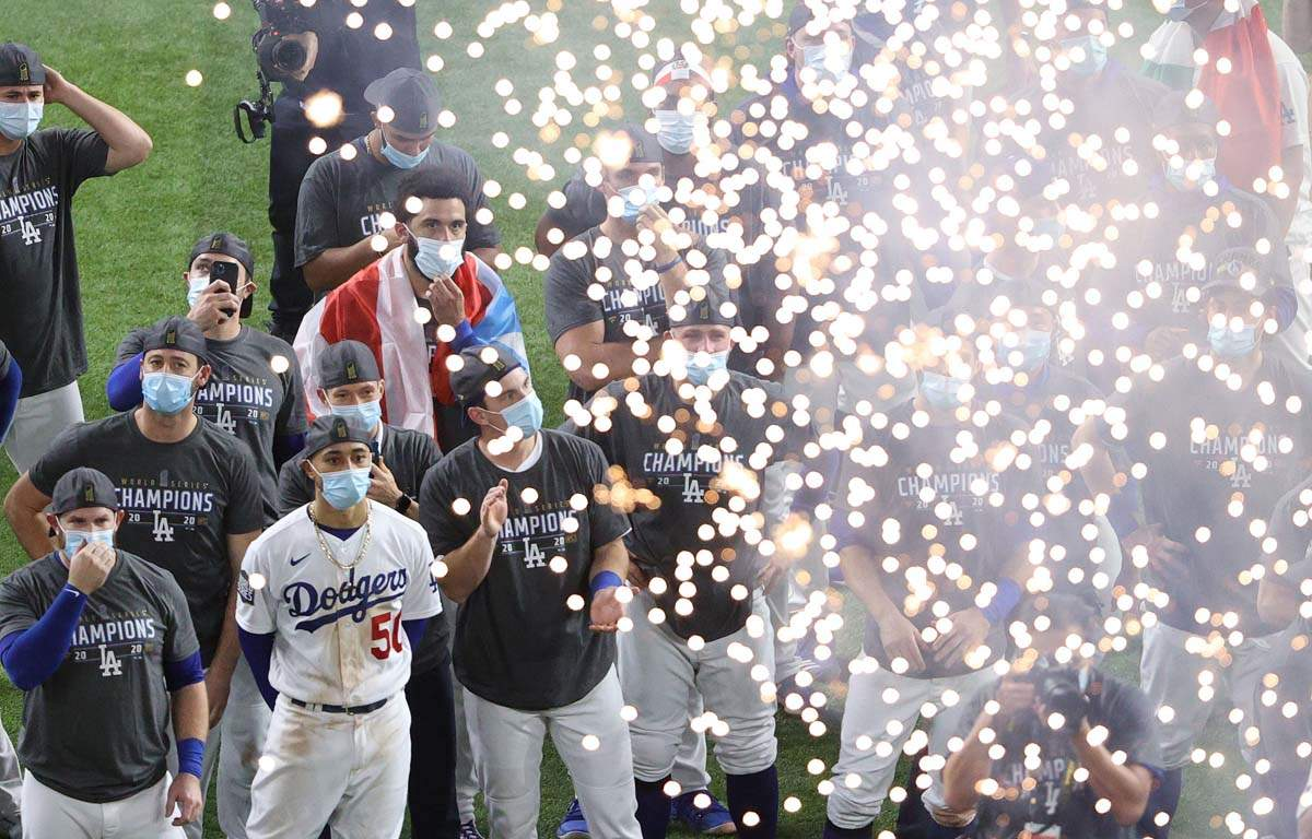 Fireworks light up the night sky in LA after Dodgers win World Series amid Covid-19 pandemic