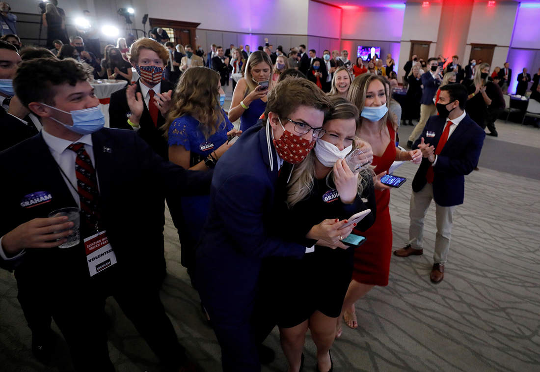 Viral pictures of nail-biting scenes from election results in the United States