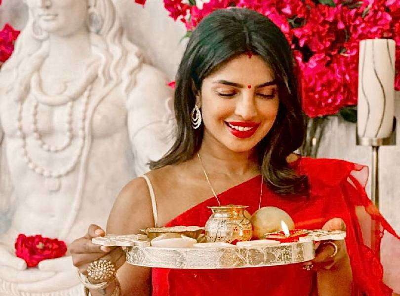 Priyanka Chopra and Nick Jonas celebrate Karva Chauth in full Indian spirit