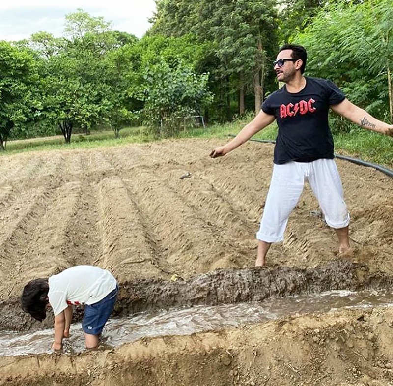 Pictures of Saif Ali Khan with little son Taimur from their farm go viral...