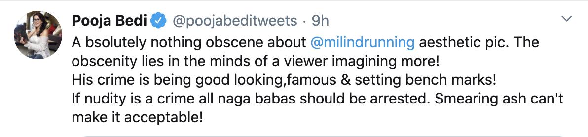 Pooja Bedi Supported Milind Soman