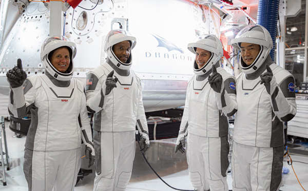 NASA launches four astronauts into space