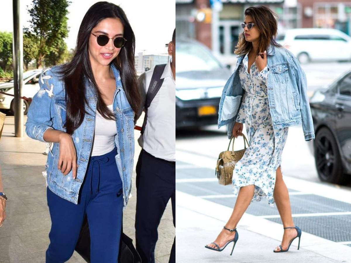 Deepika Padukone's casual airport look to Priyanka Chopra Jonas' public appearance, here's how to rock a denim jacket  | The Times of India