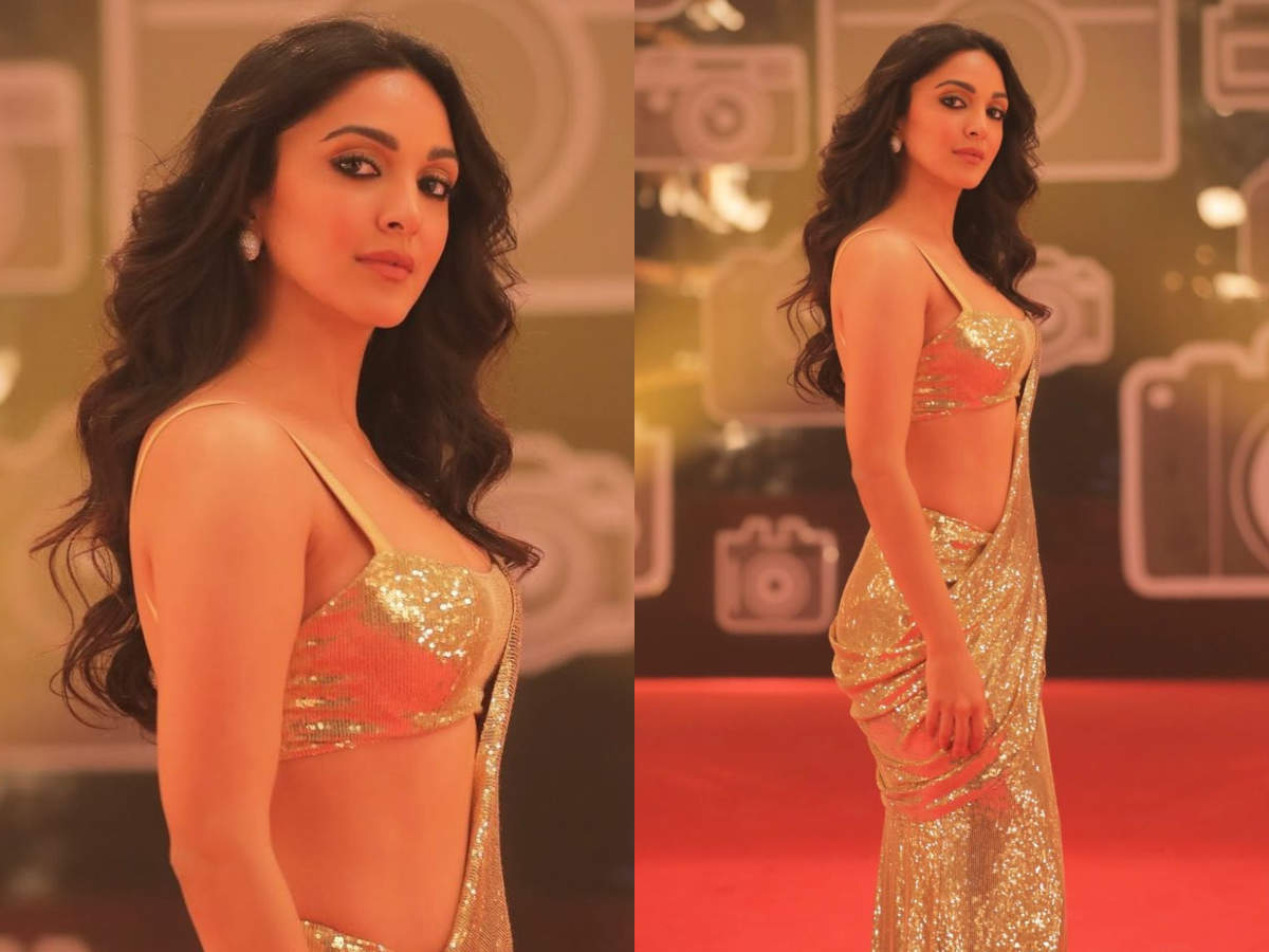 Kiara Advani gold saree