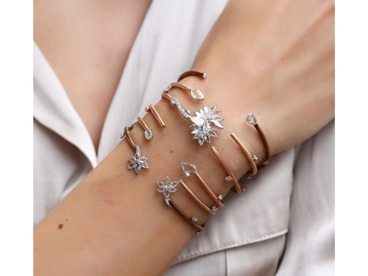 Spring Flowers & Spring Leaf bracelet stack fromthe V line from VAK.Price on request.