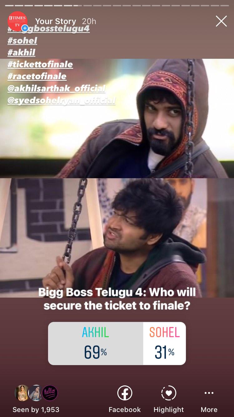 Bigg Boss Telugu 4 Instagram poll