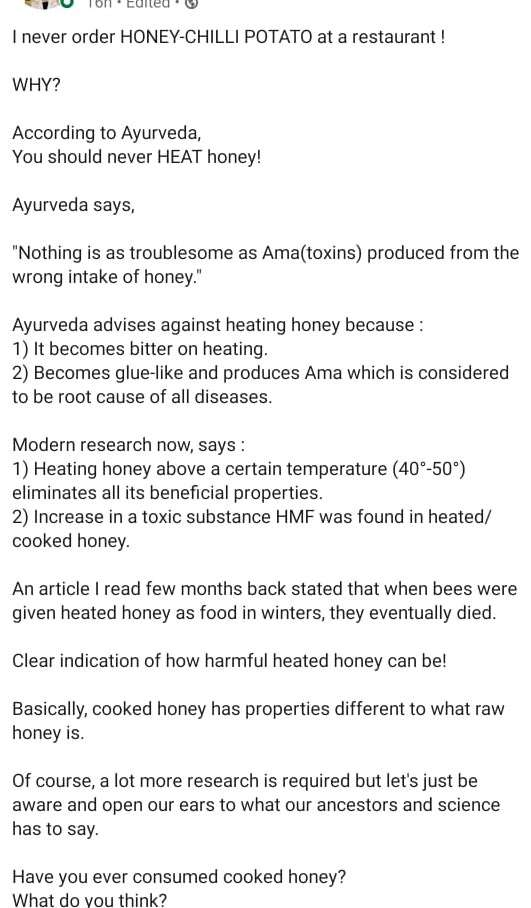 never heat honey.