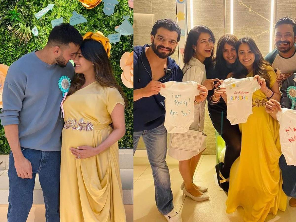 Pregnant Anita Hassanandani glows in yellow at her baby shower hosted by Ekta Kapoor; Karishma Tanna, Karan Patel share pics | The Times of India