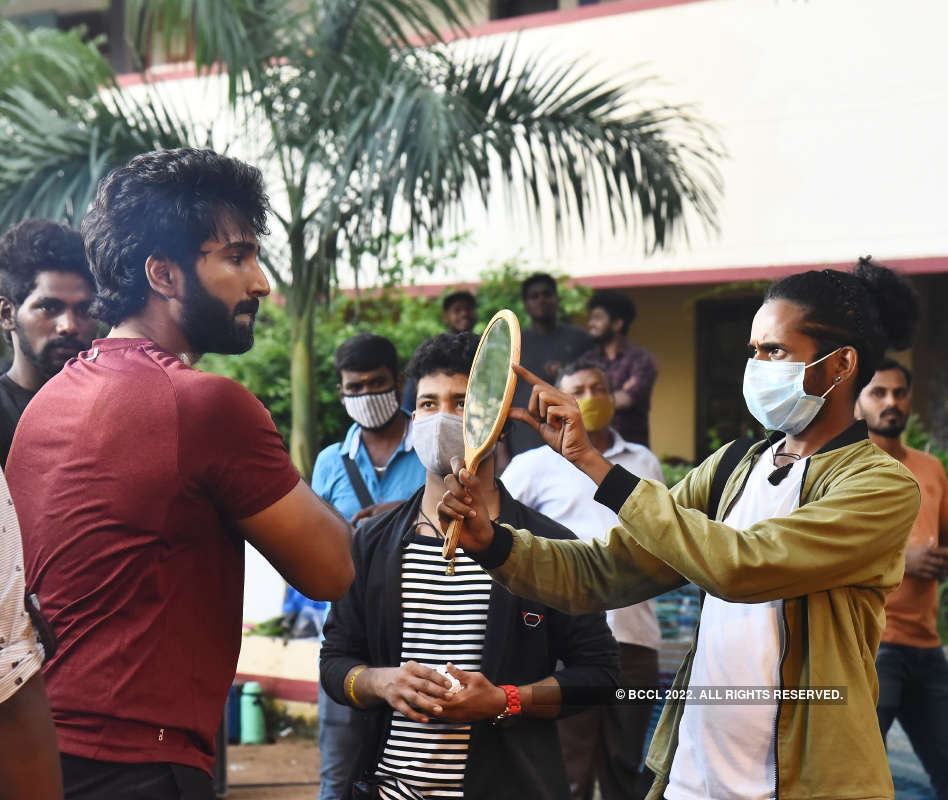 Shooting spot stills from Aadhi's 'Clap' in Chennai