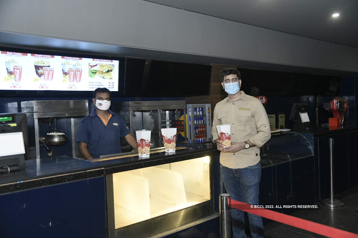 Actor Tushar Sadhu goes for a movie screening as multiplexes resume operations