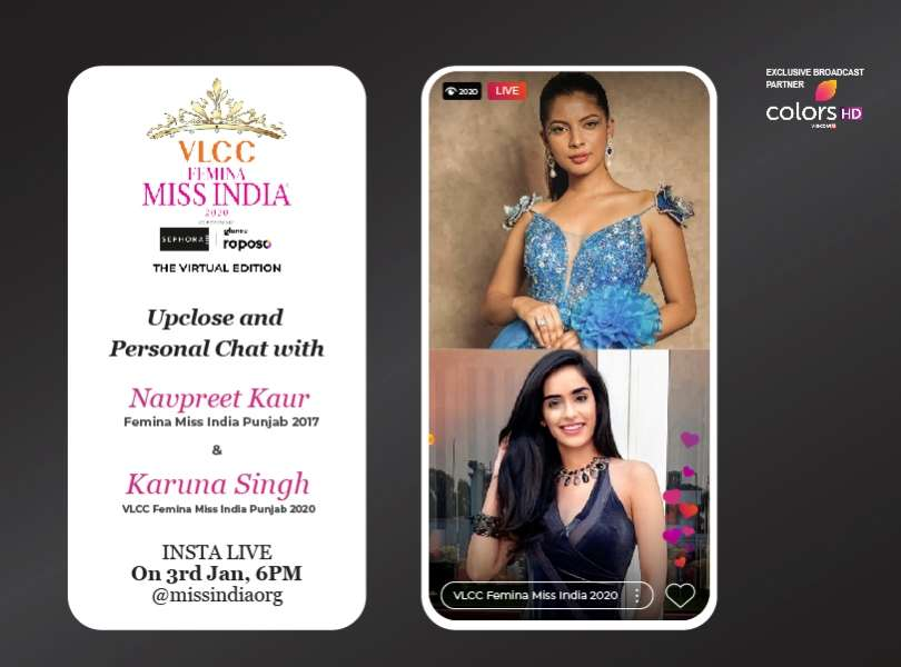 Stay tuned as Navpreet Kaur goes live with VLCC Femina Miss India Punjab 2020 Karuna Singh!