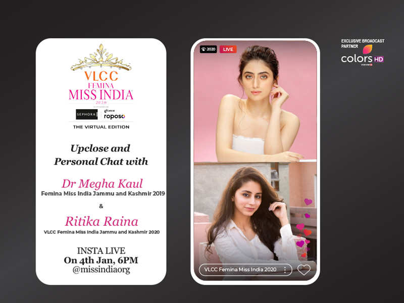 Stay tuned as Megha Kaul​ goes live with VLCC Femina Miss India Jammu and Kashmir 2020 Ritika Raina​!