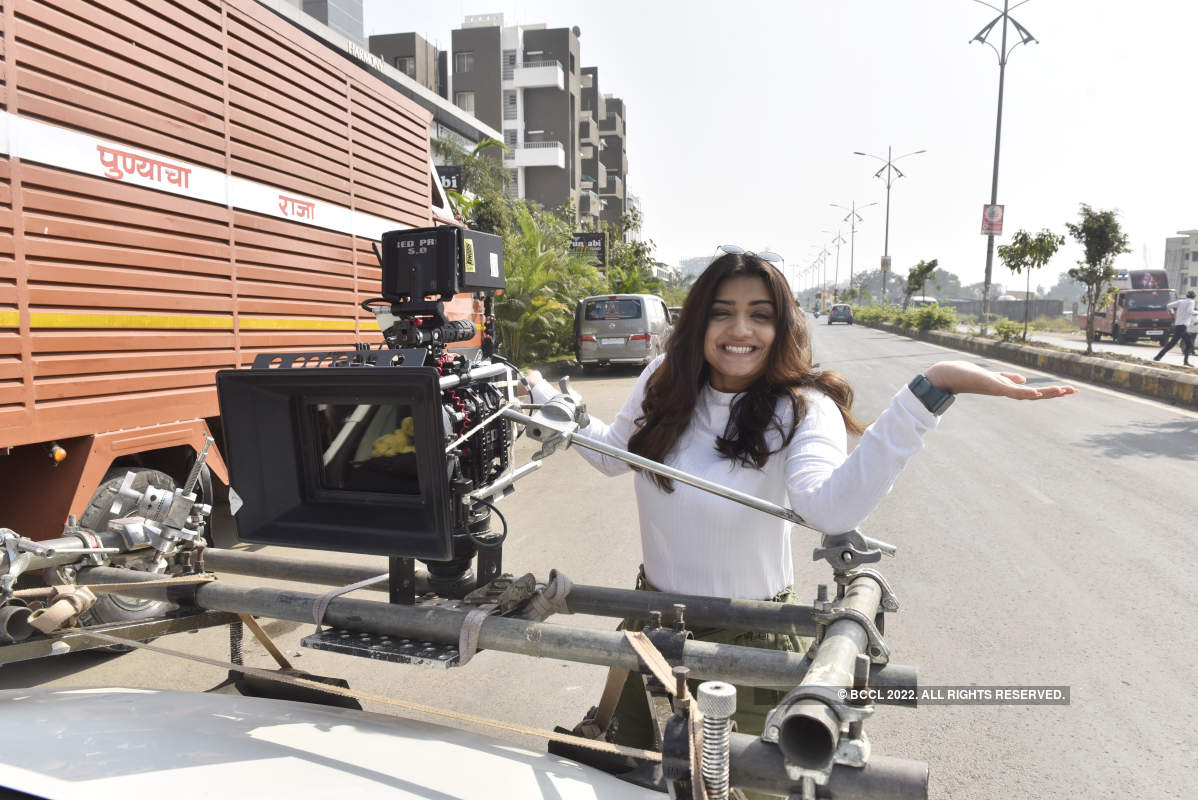 Hruta Durgule and Suvrat Joshi shoot for a love story in Pune