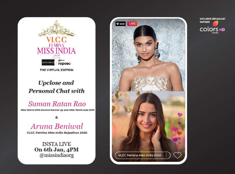 Stay tuned as Suman Rao goes live with VLCC Femina Miss India Rajasthan 2020 Aruna Beniwal!