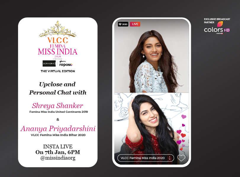 Stay tuned as Shreya Shanker goes live with VLCC Femina Miss India Bihar 2020 Ananya Priyadarshini!