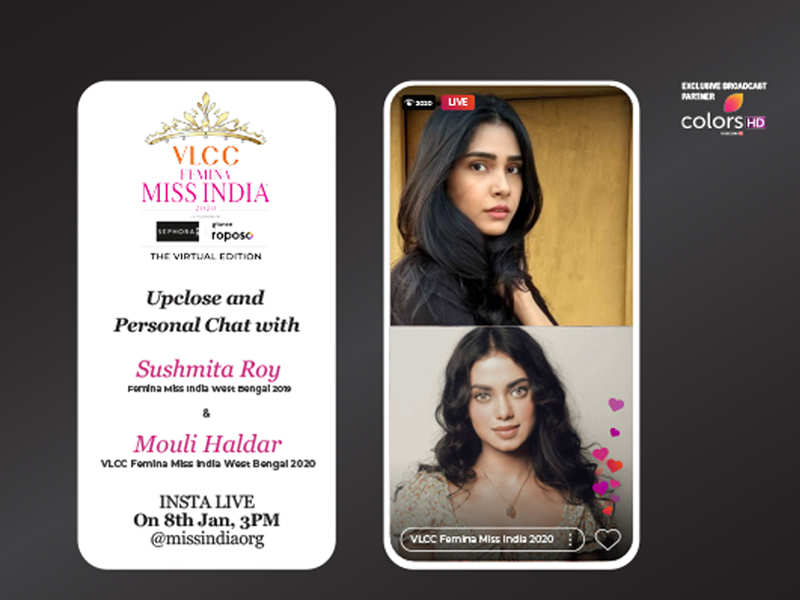 Stay tuned as Sushmita Roy​ goes live with VLCC Femina Miss India West Bengal​ 2020 Mouli Haldar​!