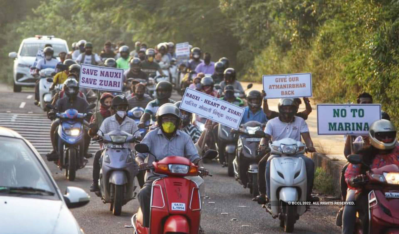 A bike rally held to protest against the marinas
