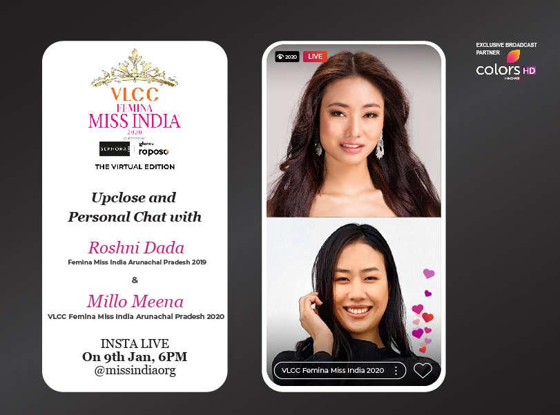 Stay tuned as Roshni Dada goes live with VLCC Femina Miss India Arunachal Pradesh 2020 Millo Meena!