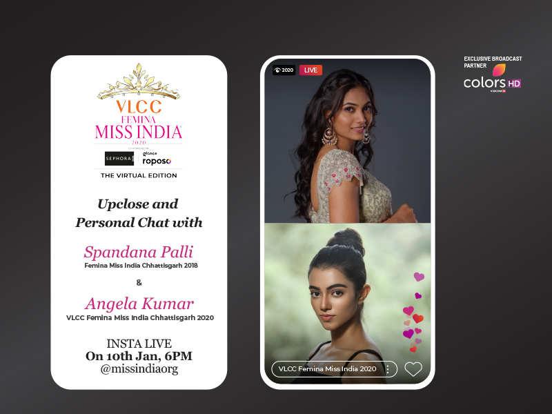 Stay tuned as Spandana Palli goes live with VLCC Femina Miss India Chhattisgarh 2020 Angela Kumar!