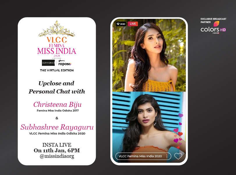 Stay tuned as Christeena Biju goes live with VLCC Femina Miss India Odisha 2020 Subhashree Rayaguru!