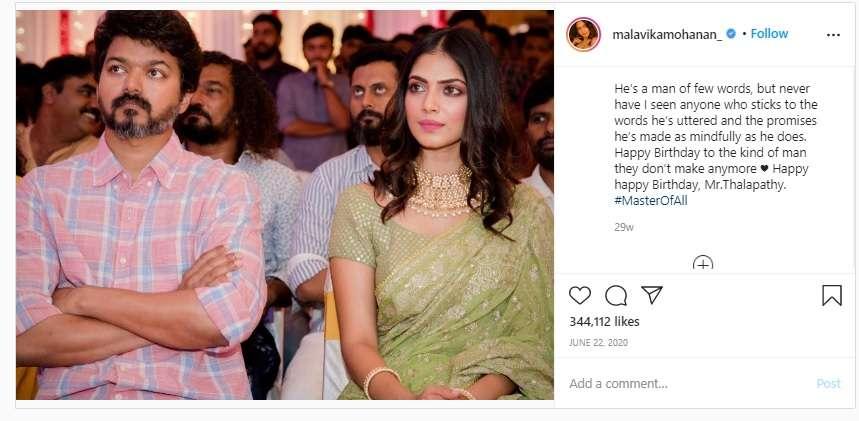 Malavika's post on Vijay's birthday