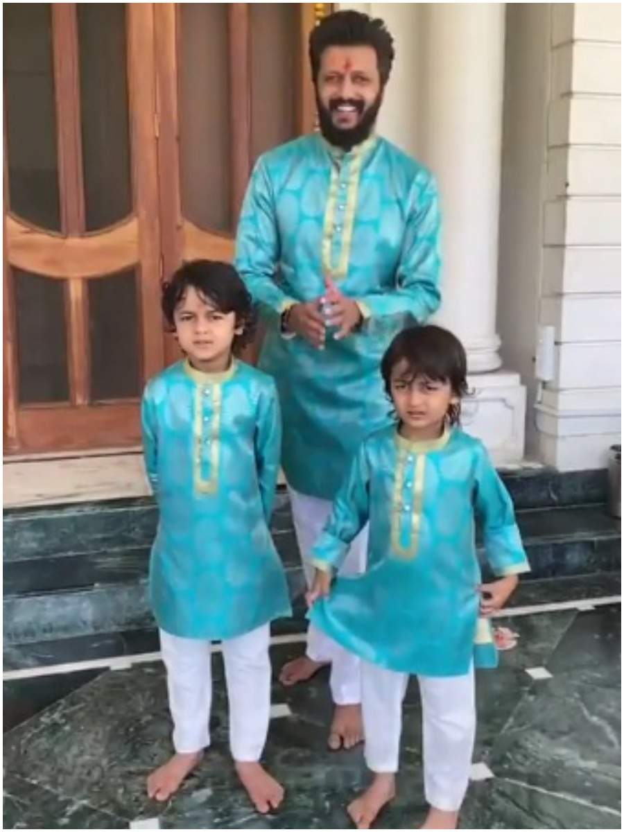 Riteish Deshmukh with his sons