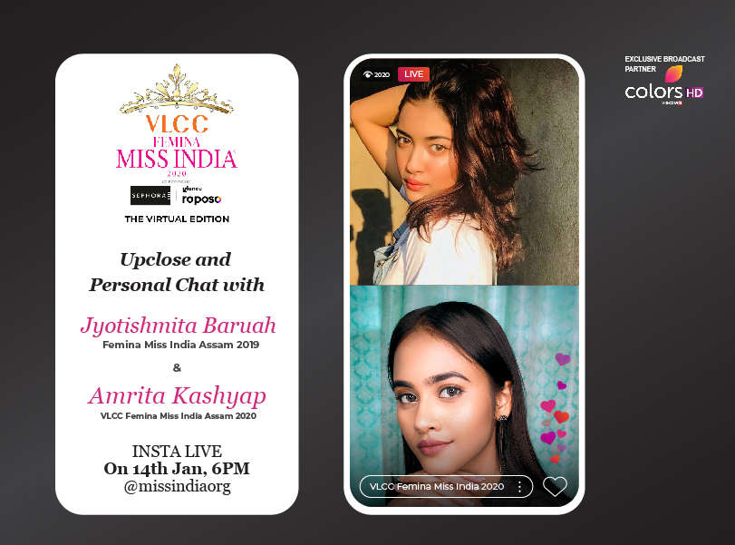 Stay tuned as Jyotishmita Baruah​ goes live with VLCC Femina Miss India Assam ​2020 Amrita Kashyap​!​