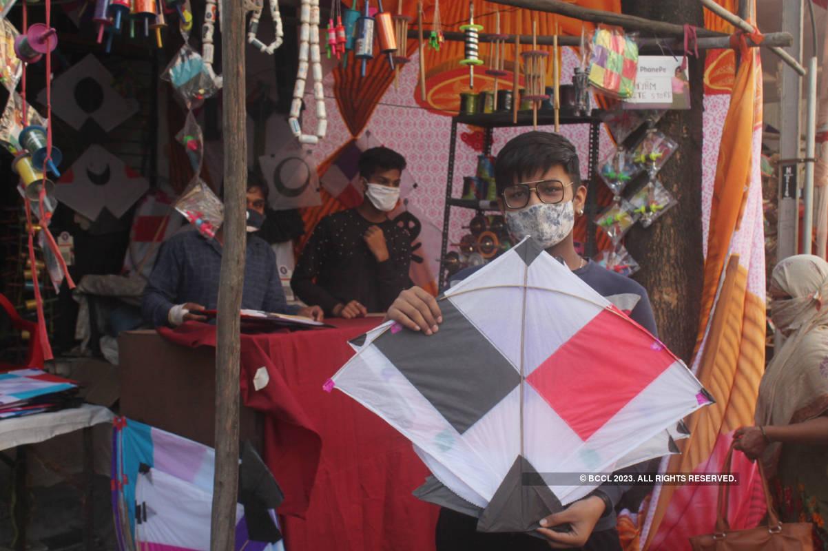 Kite flying and kite shopping on Makar Sankranti