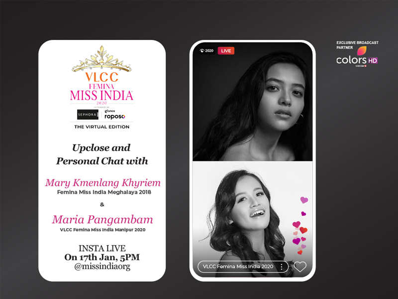 Stay tuned as Mary Khyriem goes live with VLCC Femina Miss India Manipur 2020 Maria Pangambam!