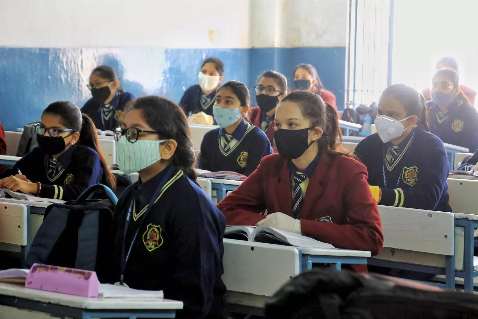 Jaipur: Students attend classes after schools reopened for 9 to 12 standard pupi...